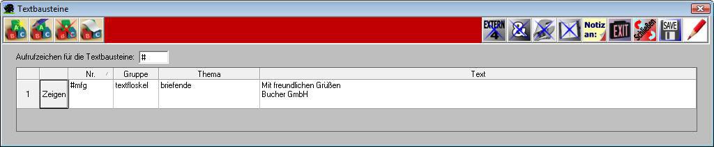 Textbausteine F9 Bucher Wiki